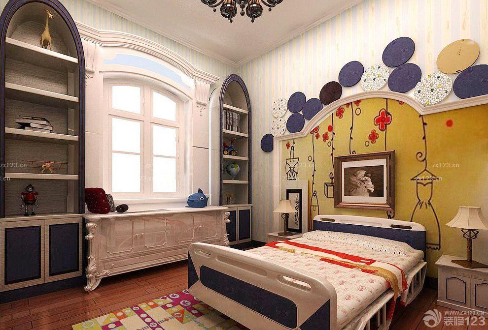 欧式儿童房床头背景墙设计图图片