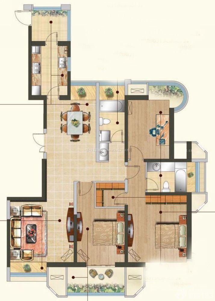 北方农村别墅两室两厅两卫户型图