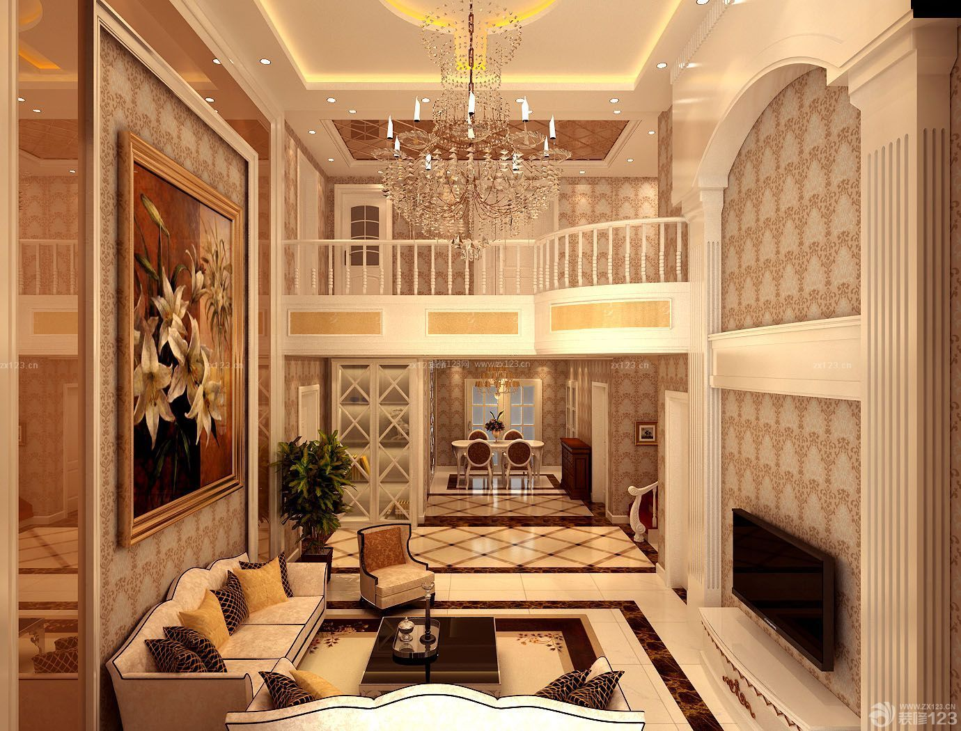 小复式挑高客厅装修效果图_装修123效果图