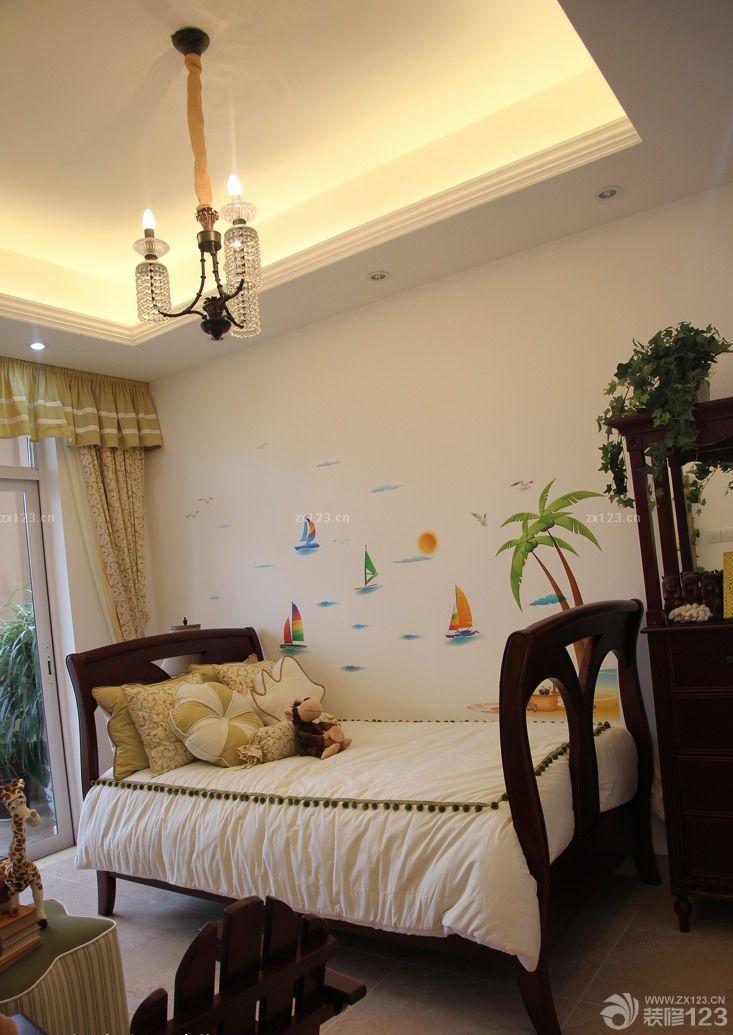 小美式风格卧室实木儿童床摆放图片大全