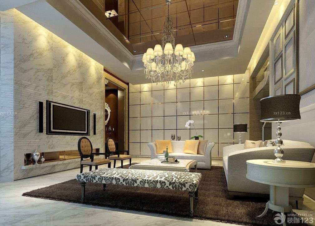 欧式风格客厅玻璃吊顶设计图
