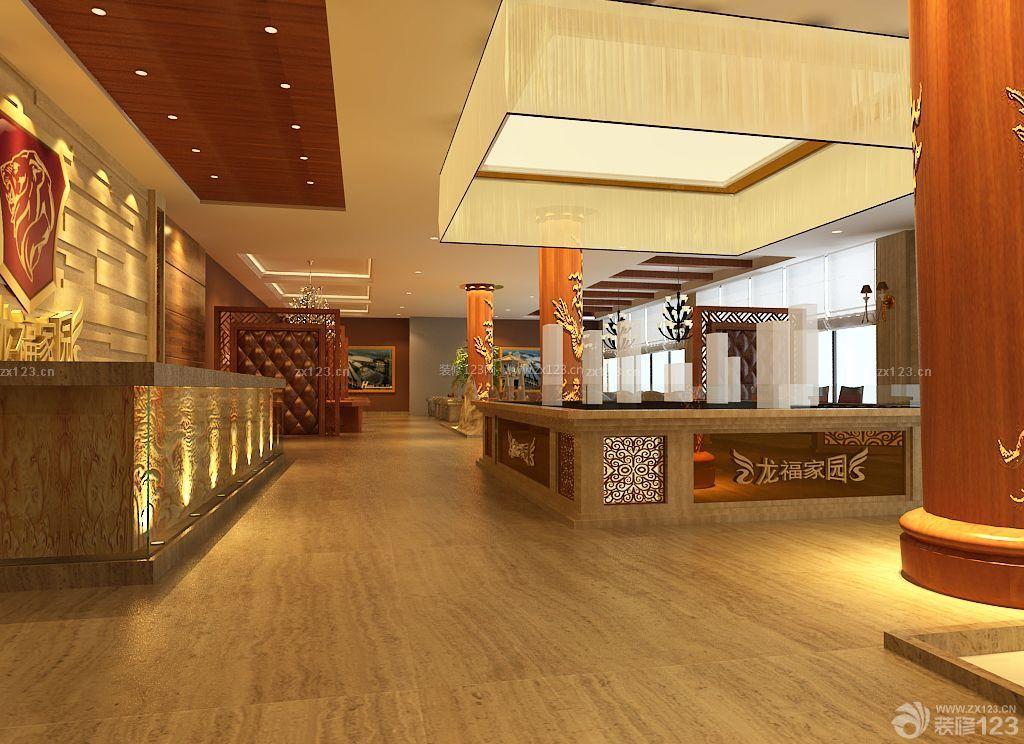简约中式风格售楼部形象墙设计效果图