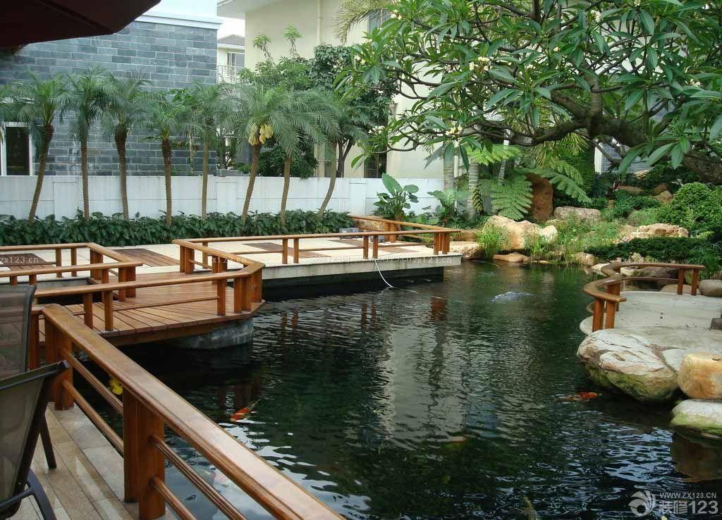 别墅后院假山鱼池装修效果图图片
