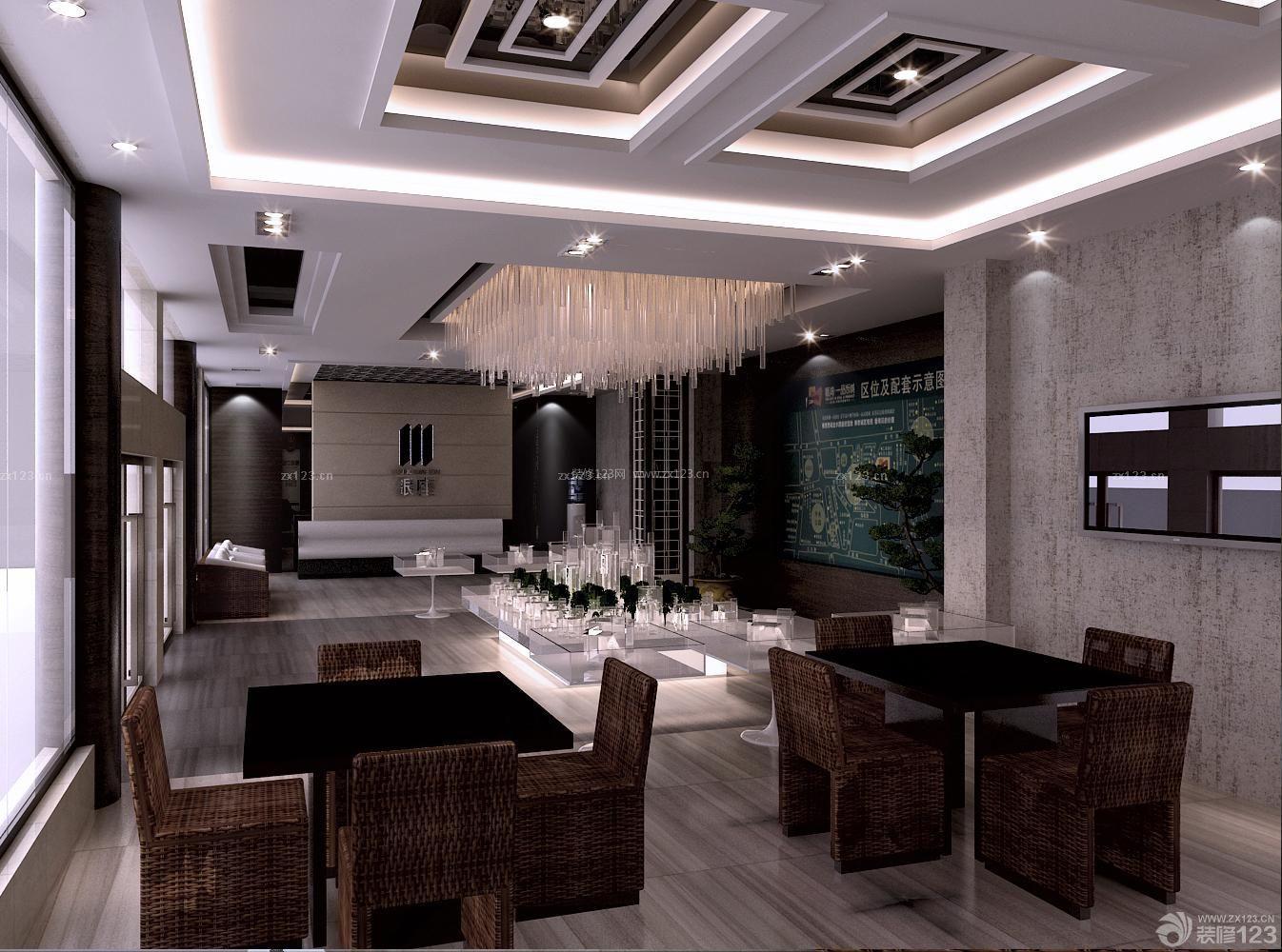 简约中式风格售楼部形象墙设计图