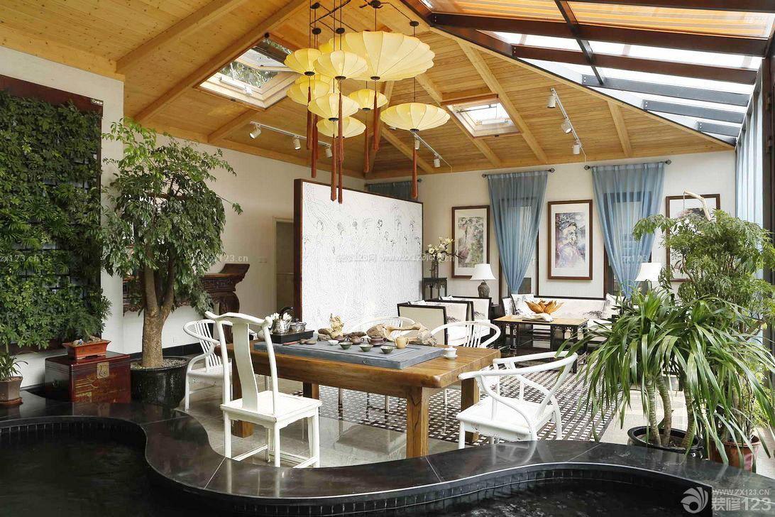 小型茶楼吊顶造型设计图图片