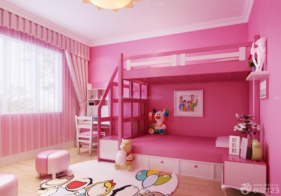 儿童房家具红色高低床设计图