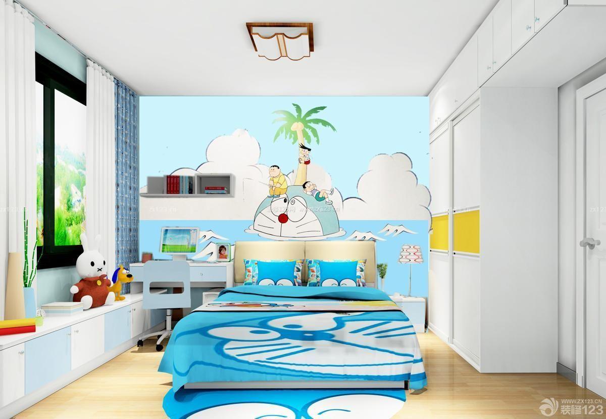 儿童房床头背景墙彩绘设计图_装修123效果图图片