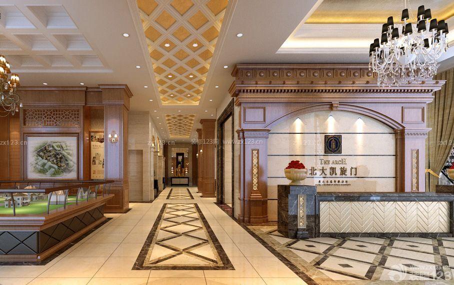 欧式风格售楼部形象墙装戏实景图