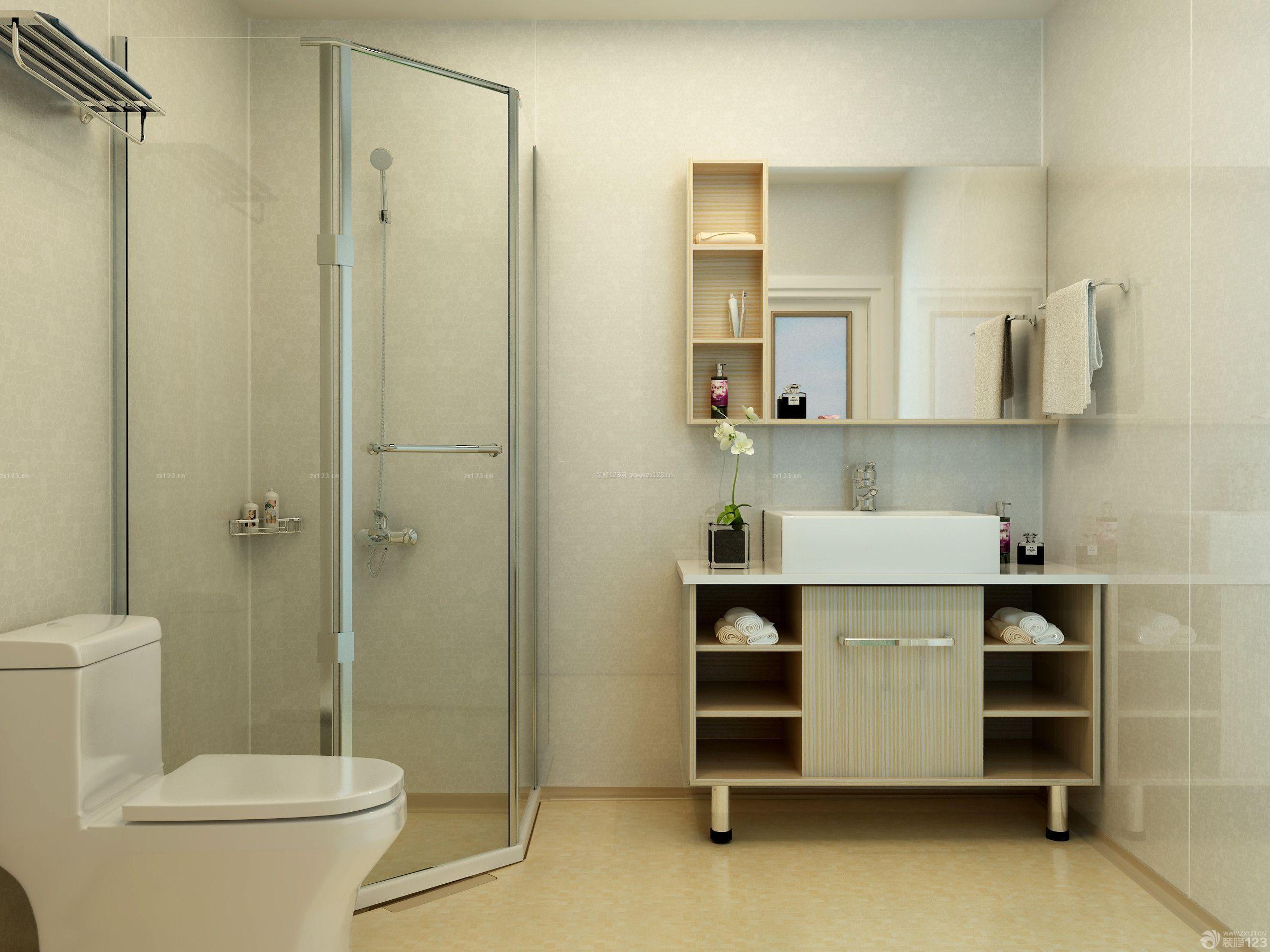实木整体浴室柜装修效果图