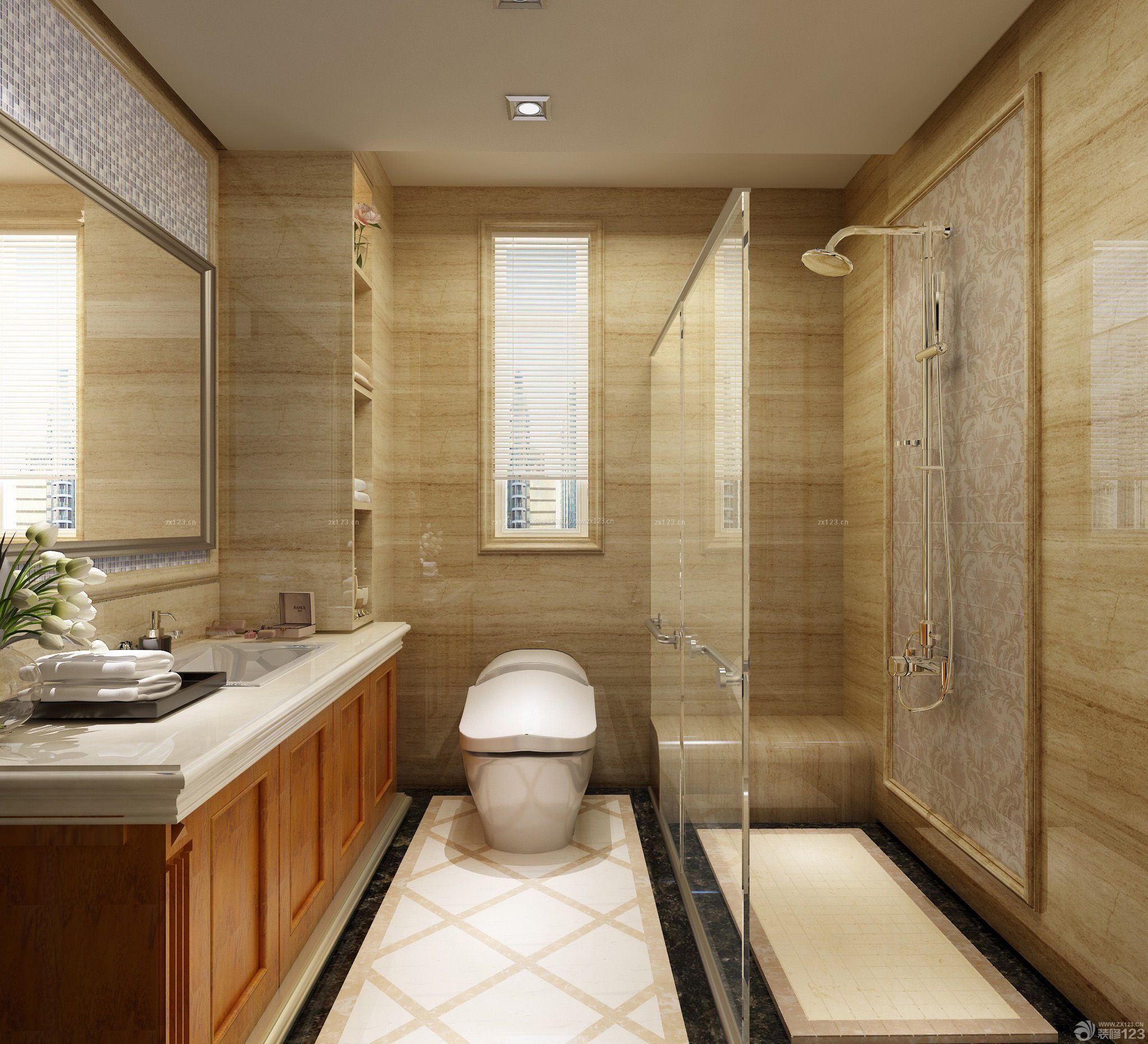 整体浴室玻璃隔断装修效果图