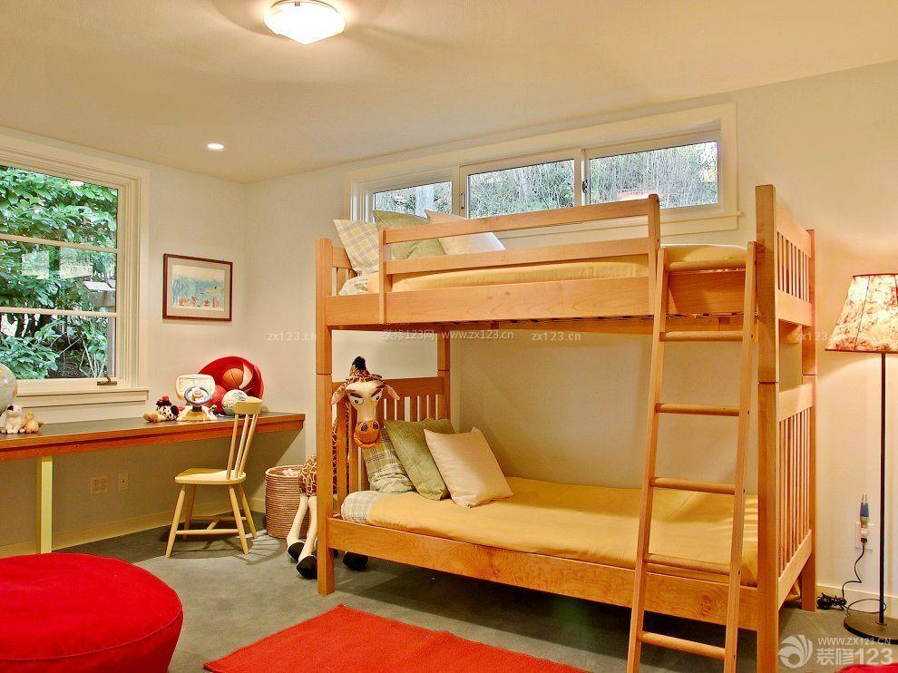儿童房家具实木高低床设计图片_装修123效果图