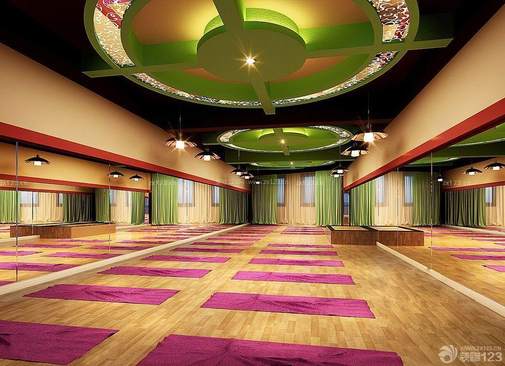 健身会所瑜伽室艺术吊顶装修设计效果图图片
