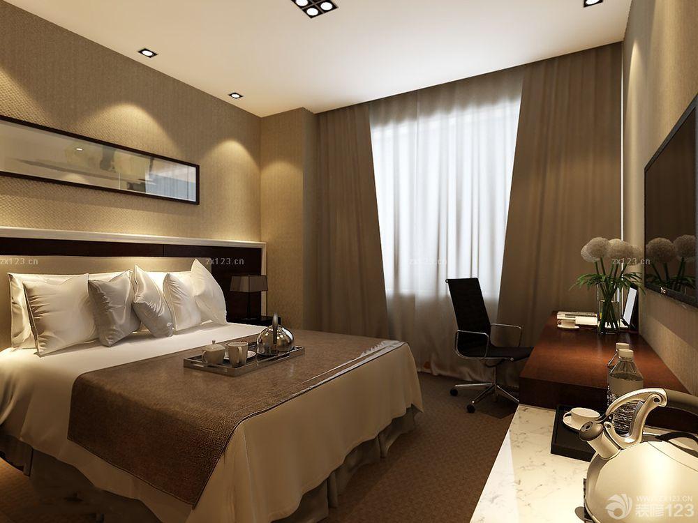 最新快捷酒店客房简欧风格装修设计效果图大全