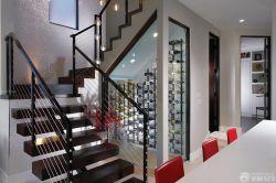 高檔別墅室內不銹鋼樓梯欄桿設計圖片