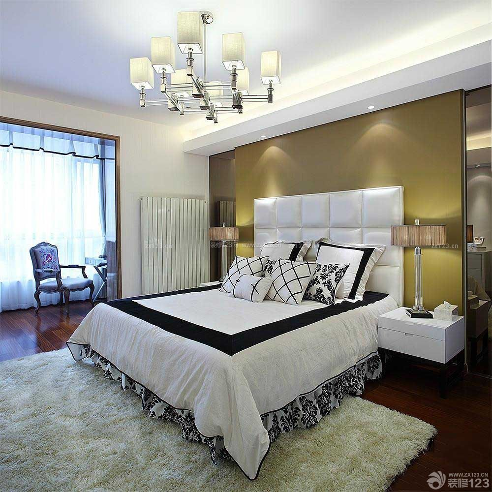 一室一厅一厨一卫卧室床头背景墙装修效果图