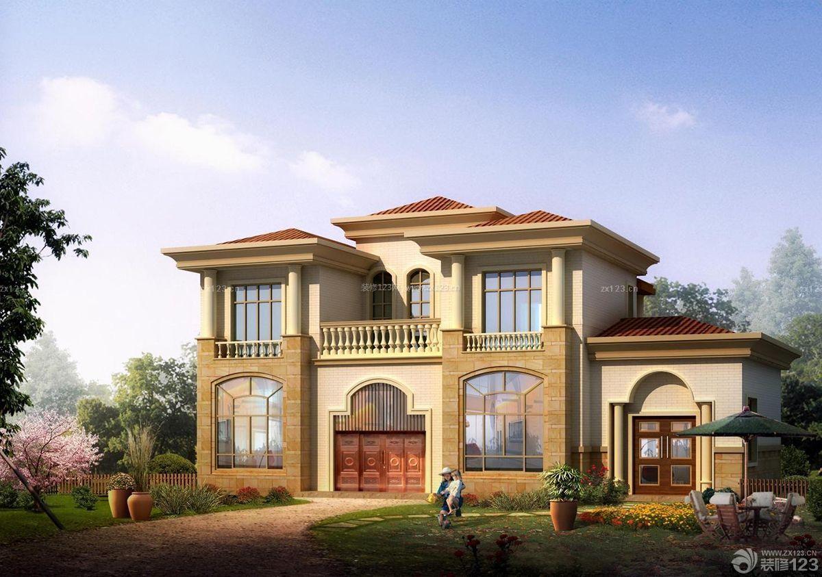 欧式风格外观农村房屋设计图片大全_装修123效果图