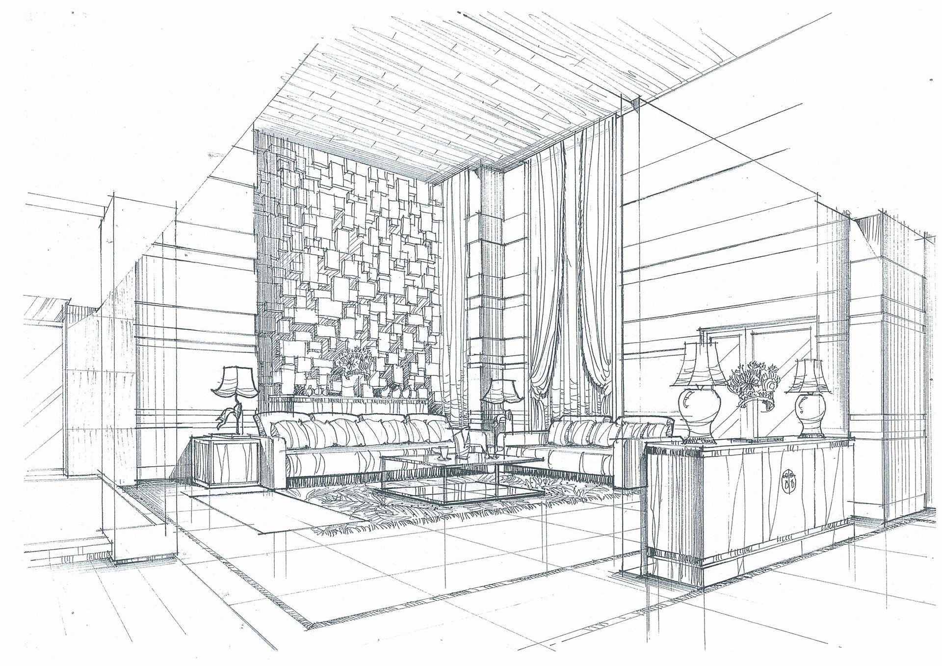 室内手绘高挑客厅设计初稿图