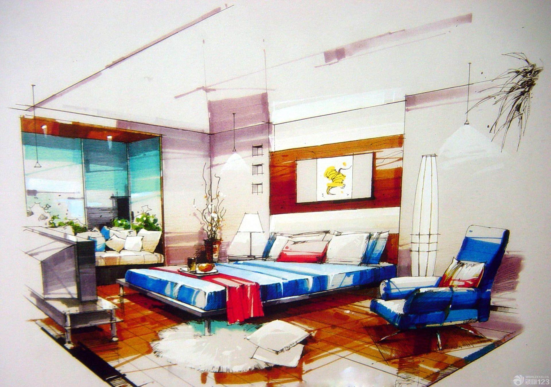 一室一厅小房室内手绘设计效果图_装修123效果图