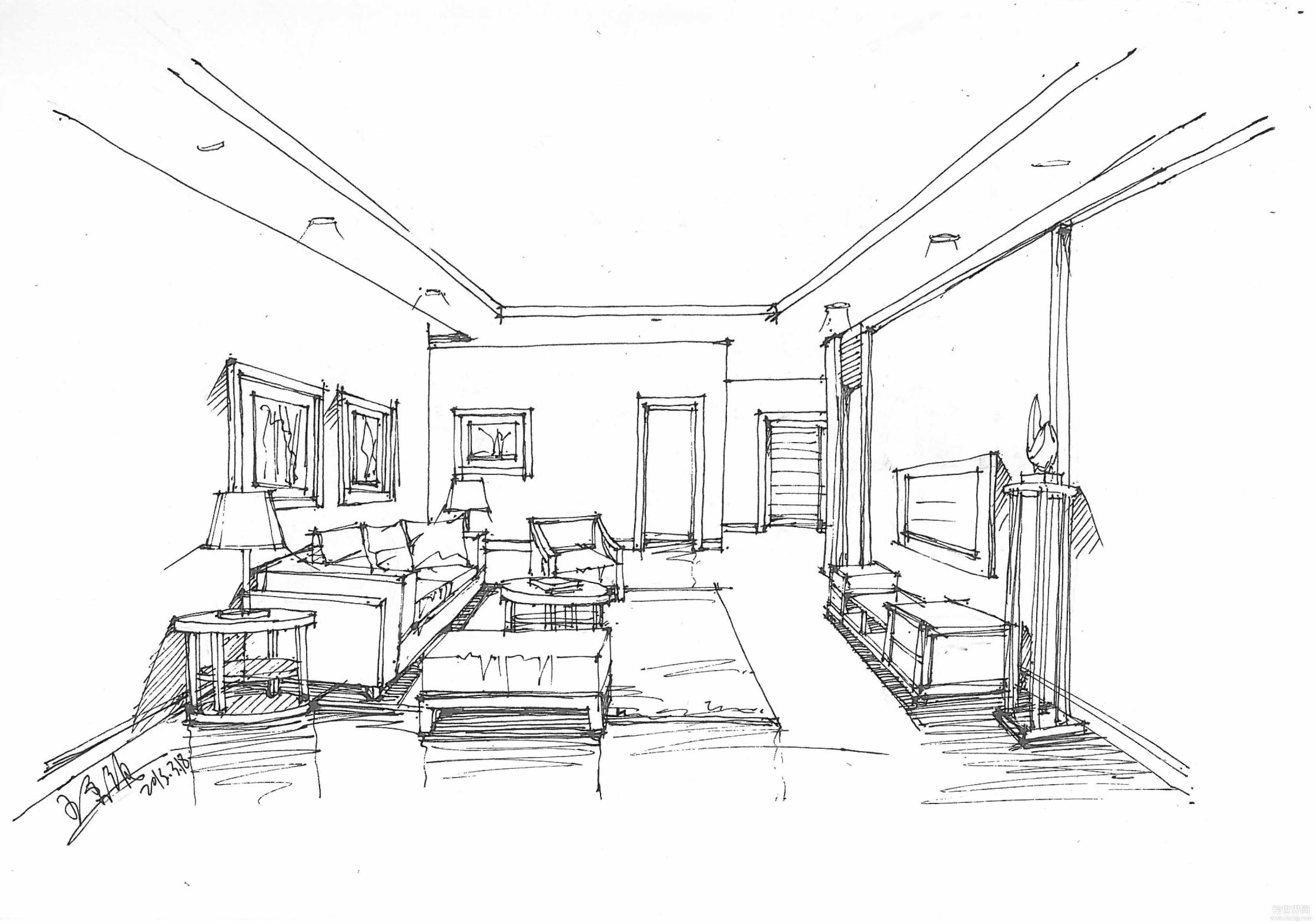 小户型室内客厅沙发摆放手绘设计图