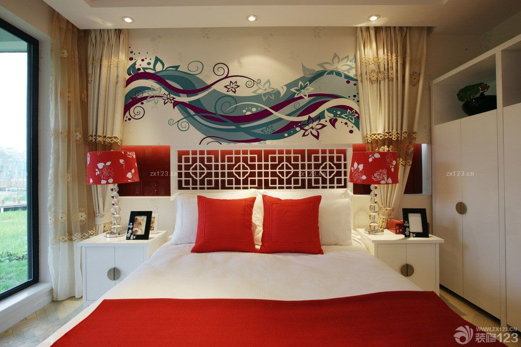 卧室室内手绘床头背景墙效果图