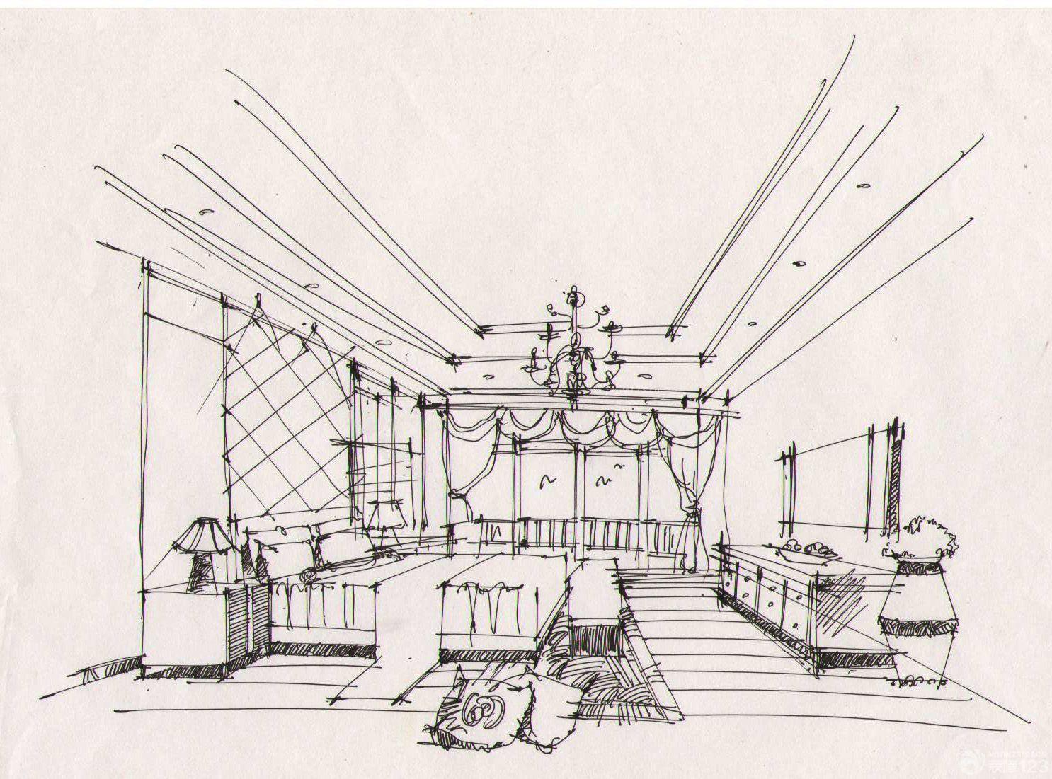 美式室内设计手绘效果图