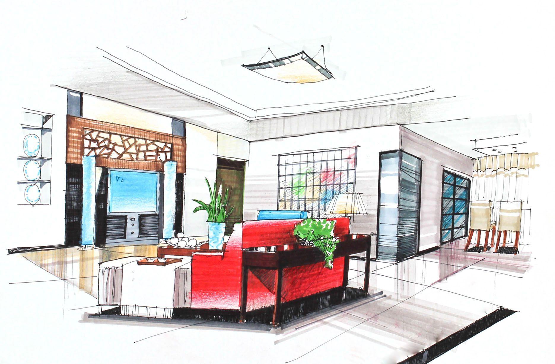 小户型大客厅室内手绘设计效果图
