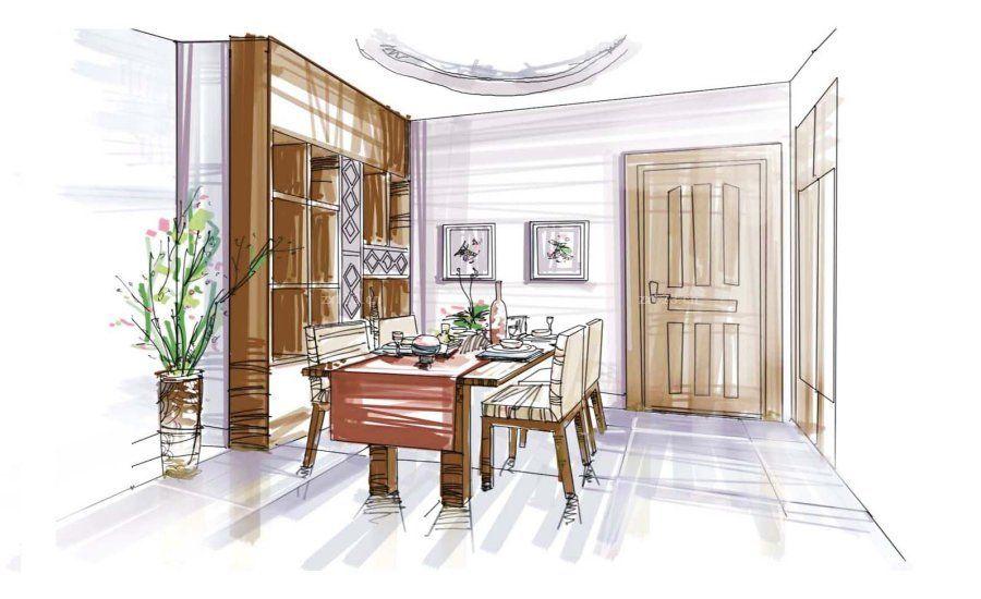 室内书房布置手绘效果图