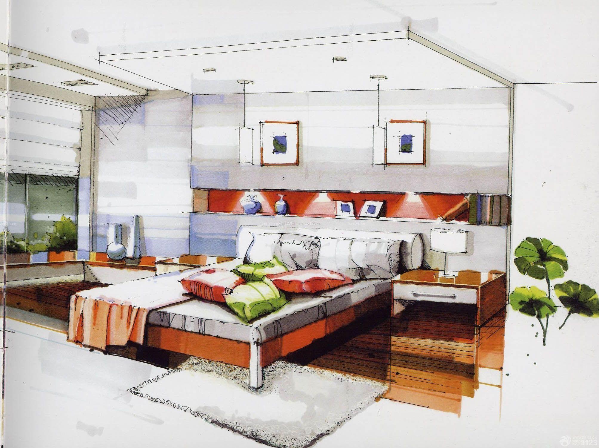 小户型卧室飘窗室内手绘设计效果图