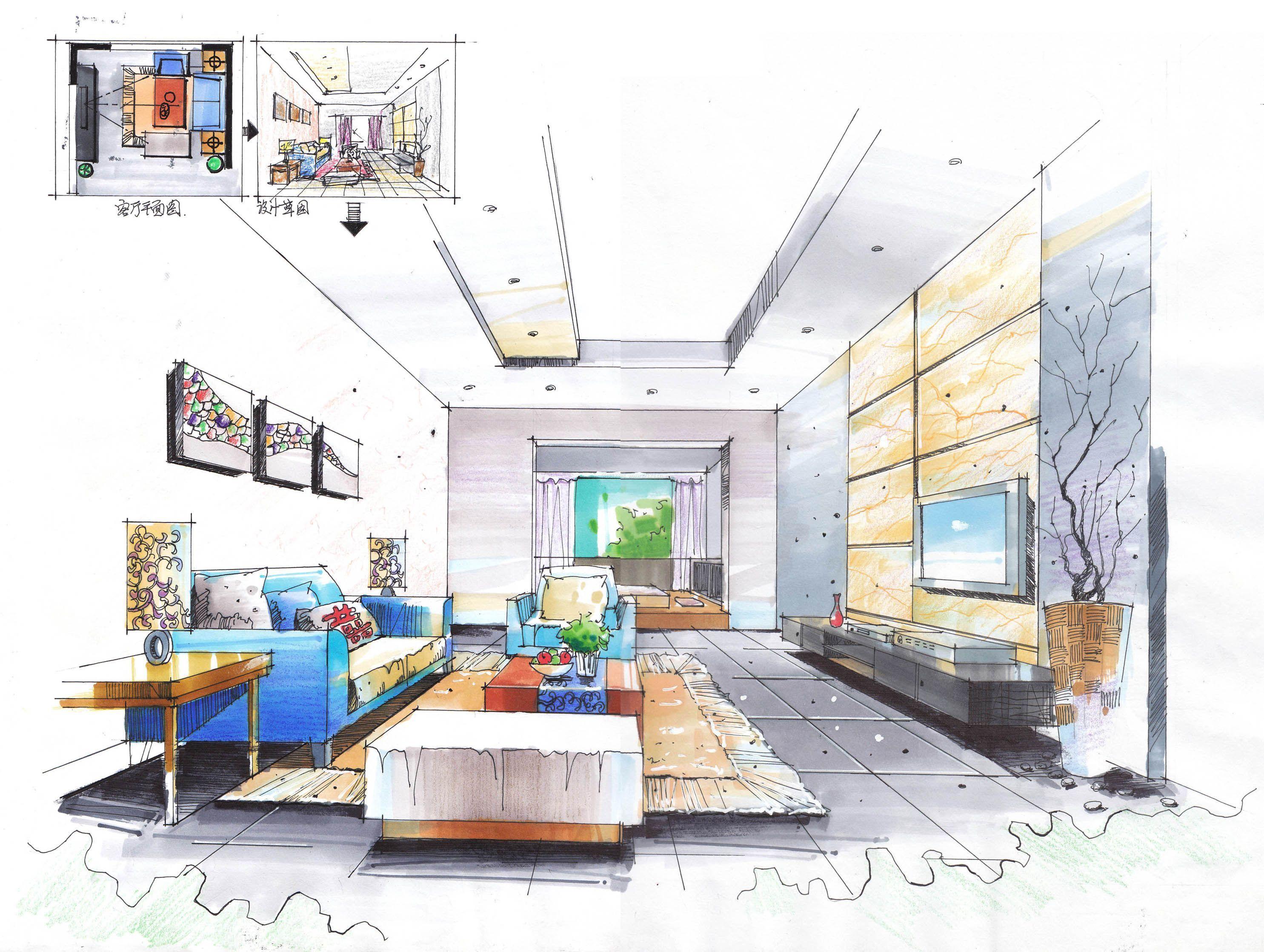 简约风格室内客厅手绘设计效果图