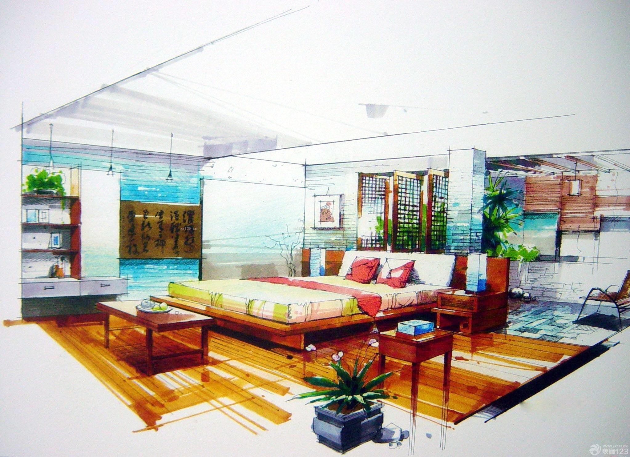 室内卧室隔断手绘设计效果图