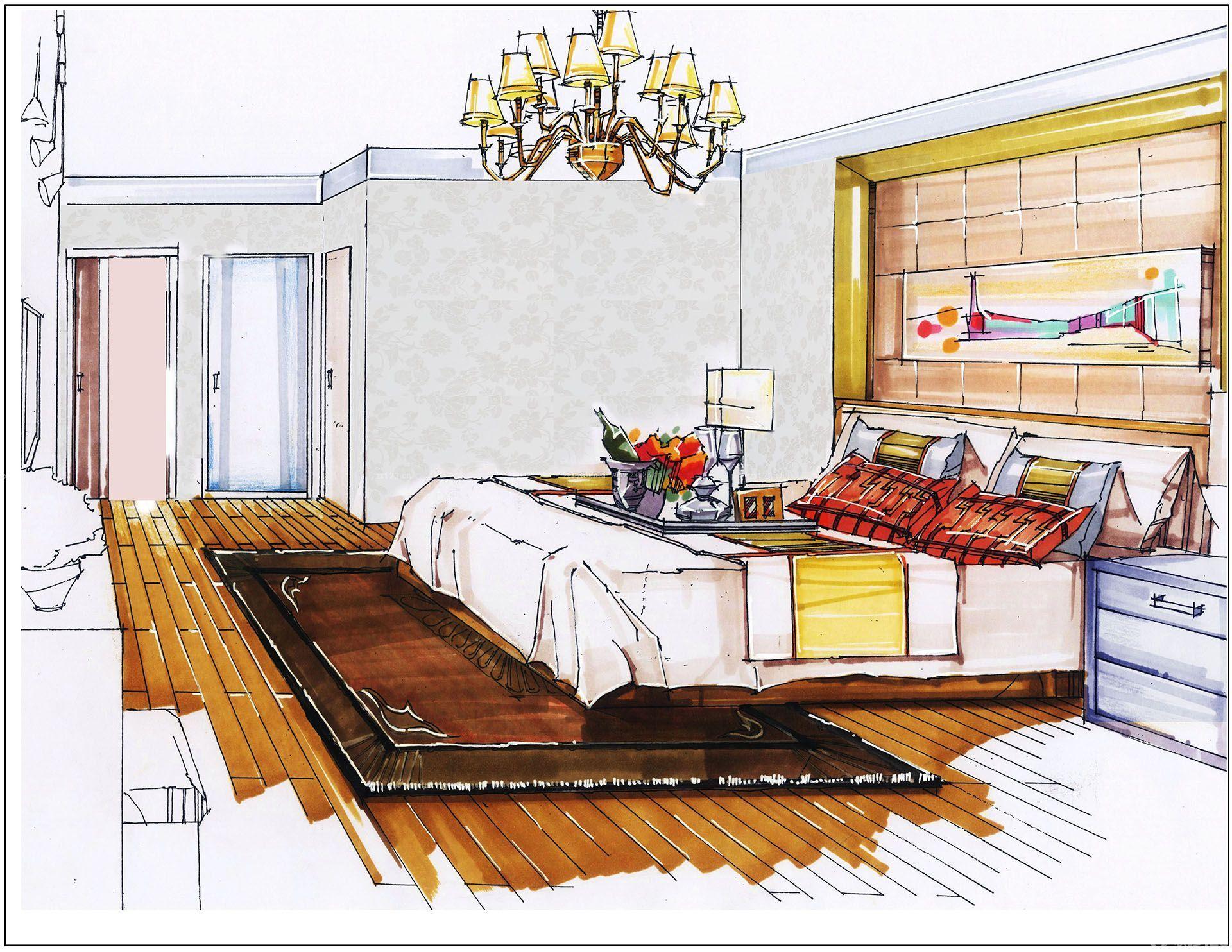 欧式室内卧室吊灯手绘设计效果图