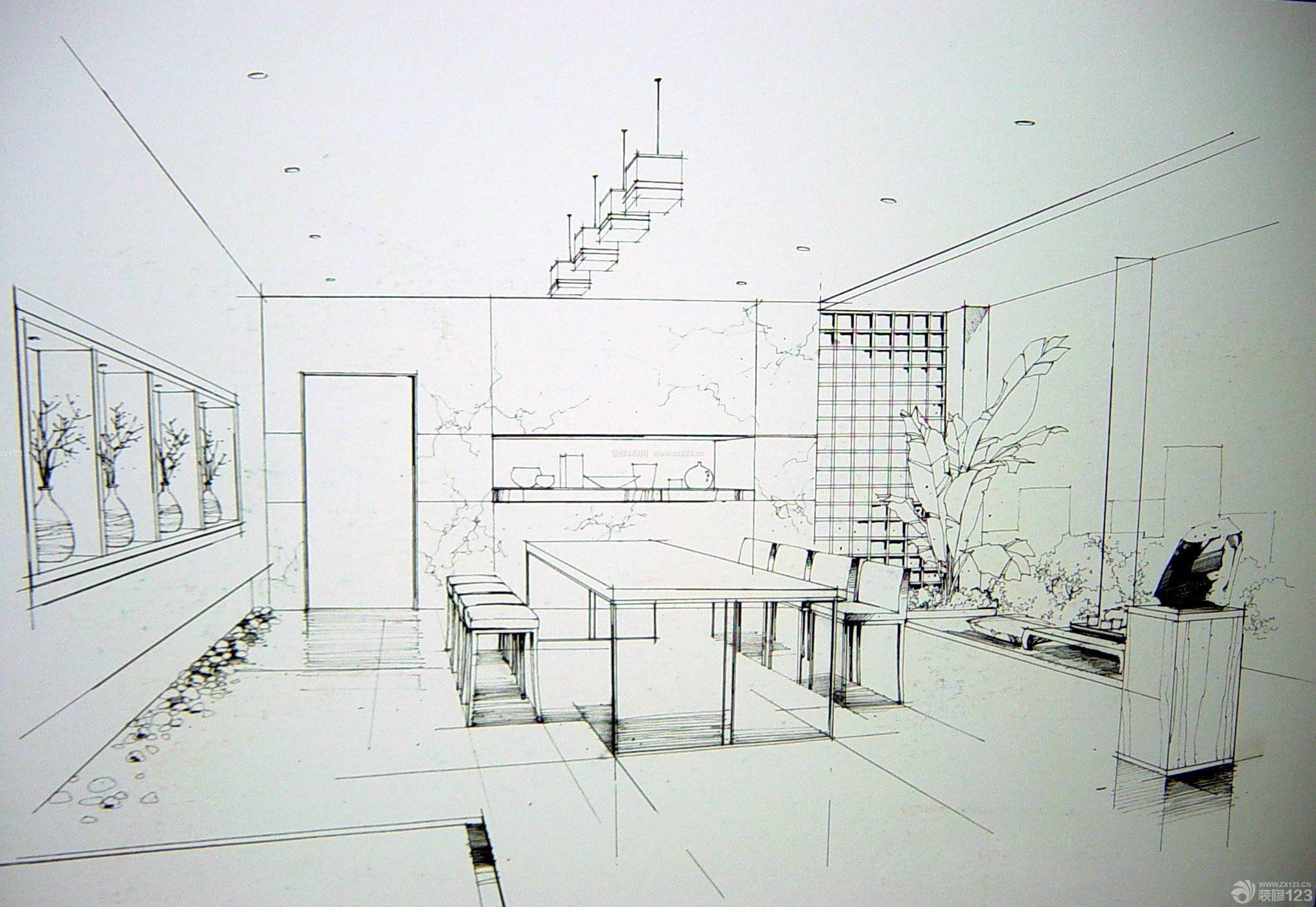 厨房餐厅一体室内手绘设计效果图_装修123效果图