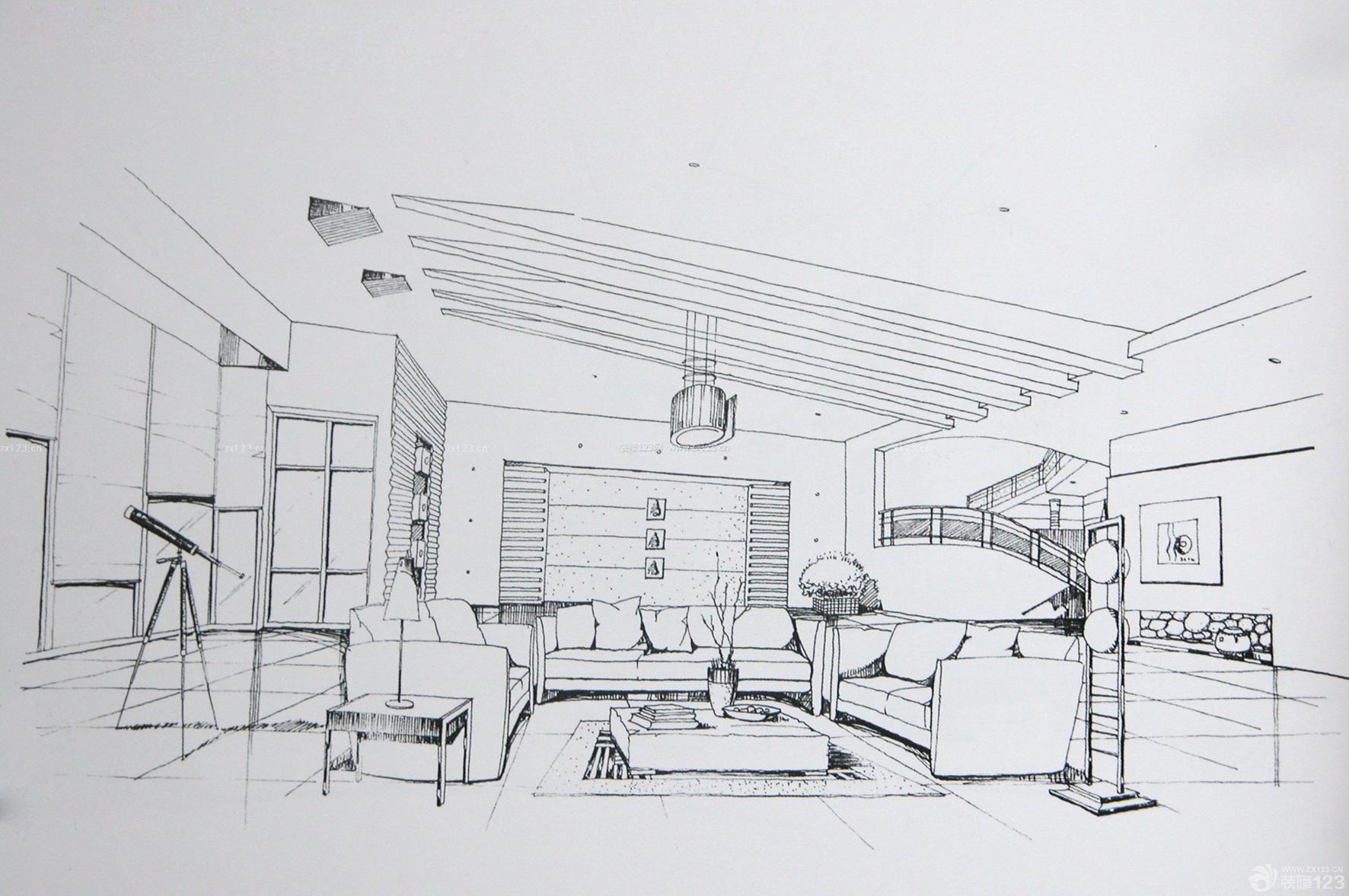 斜顶客厅室内手绘设计效果图