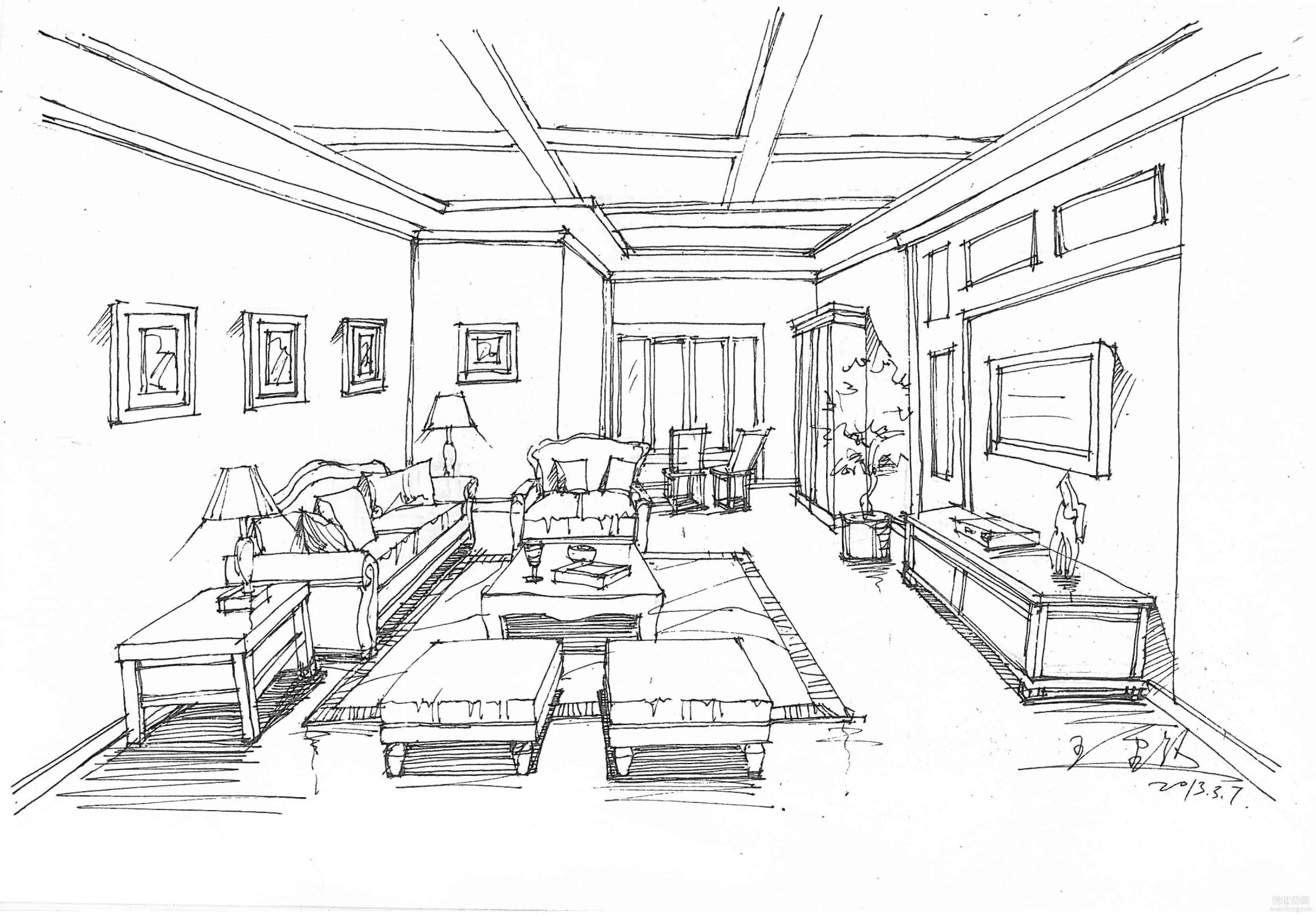 室内客厅天花吊顶手绘设计效果图_装修123效果图