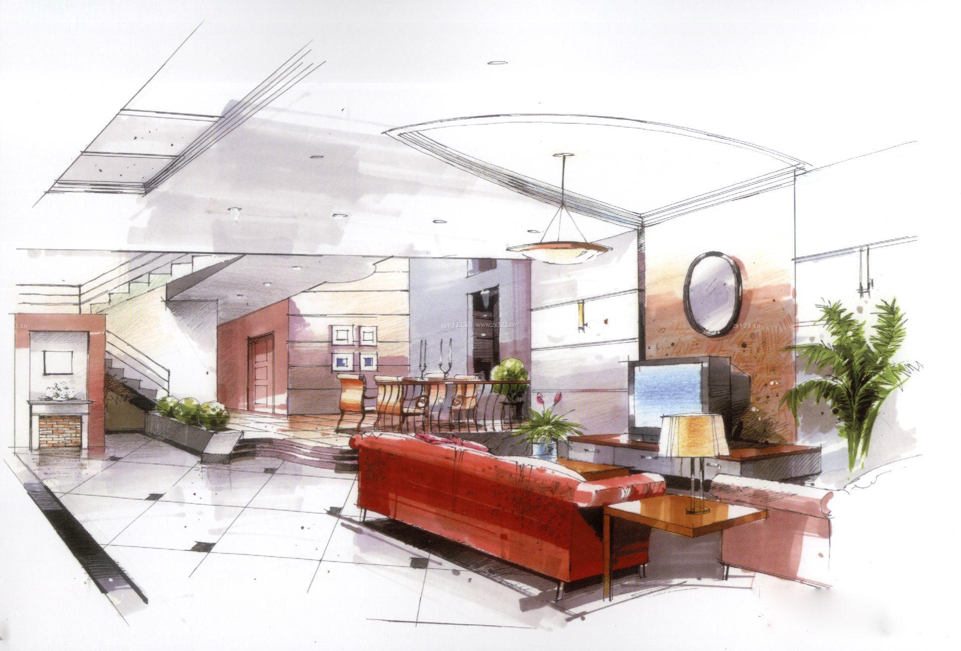 室内设计效果图手绘画设计院宣传册素材图片