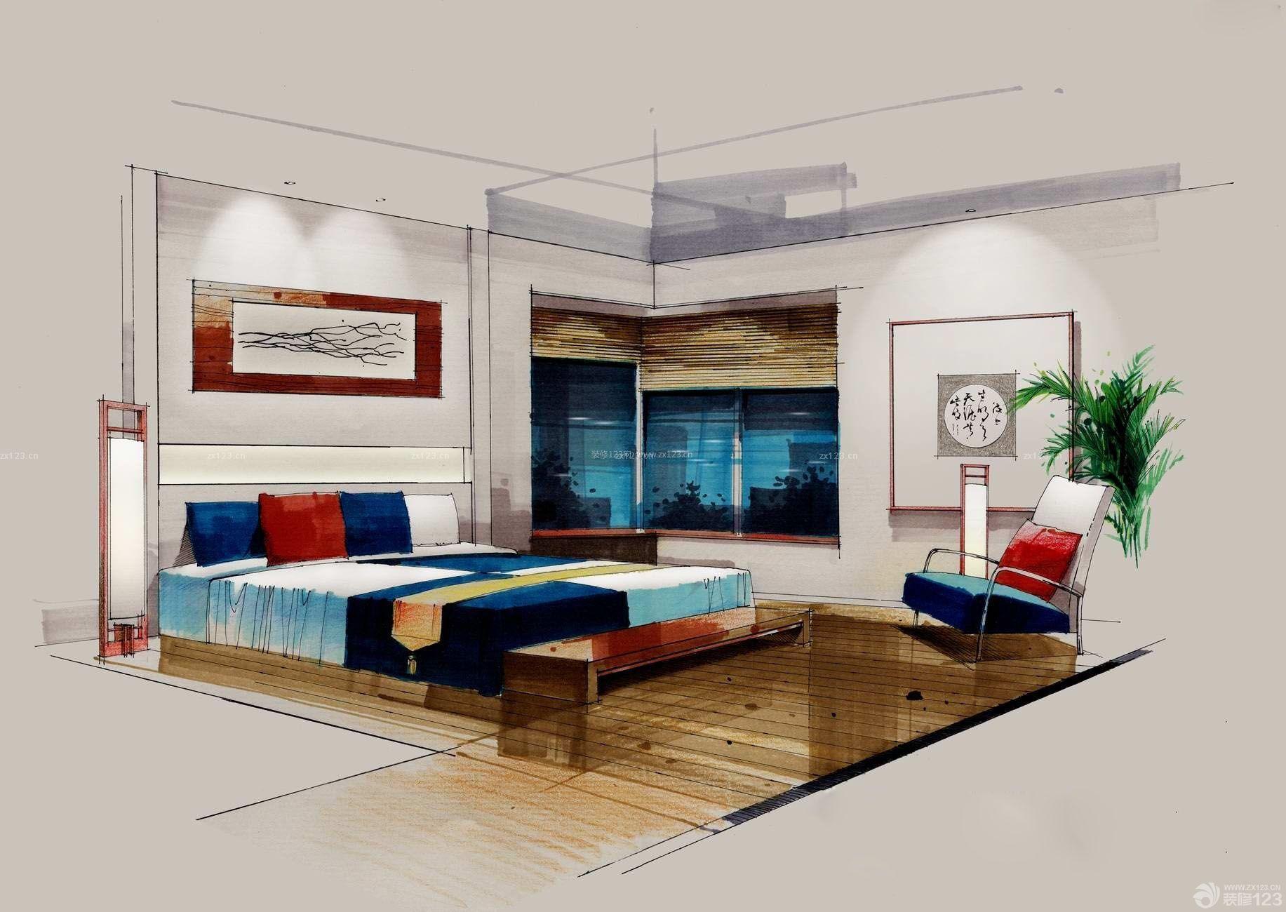 小户型室内床手绘设计效果图