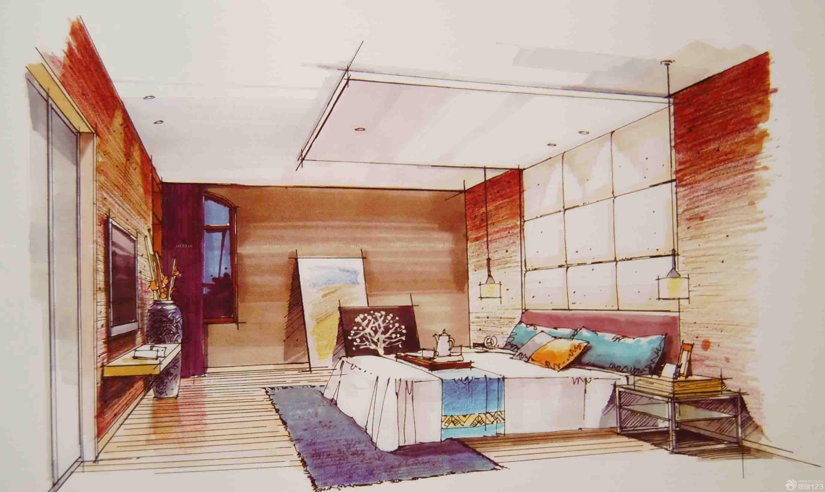 室内手绘设计效果图片_装修123效果图