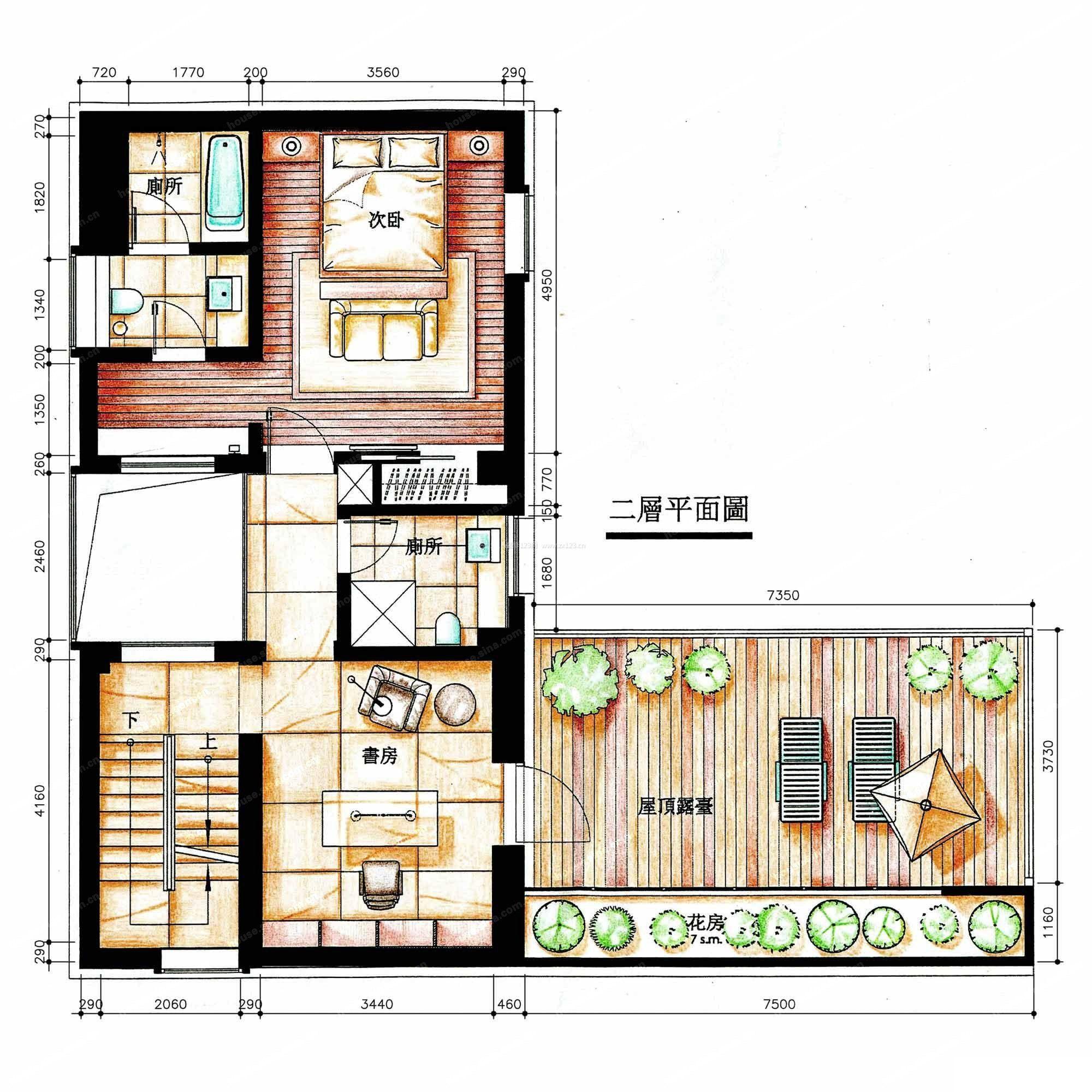 二层楼房露台阳光房设计平面图