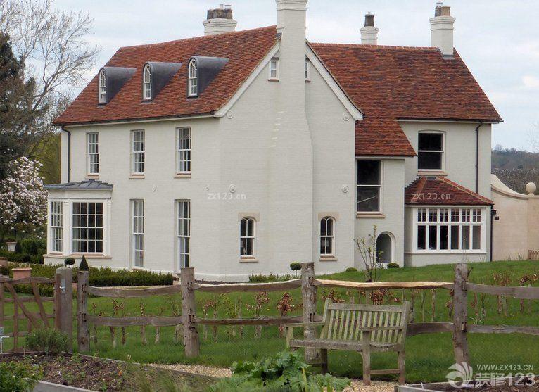 农村房子外观白色墙面设计图片