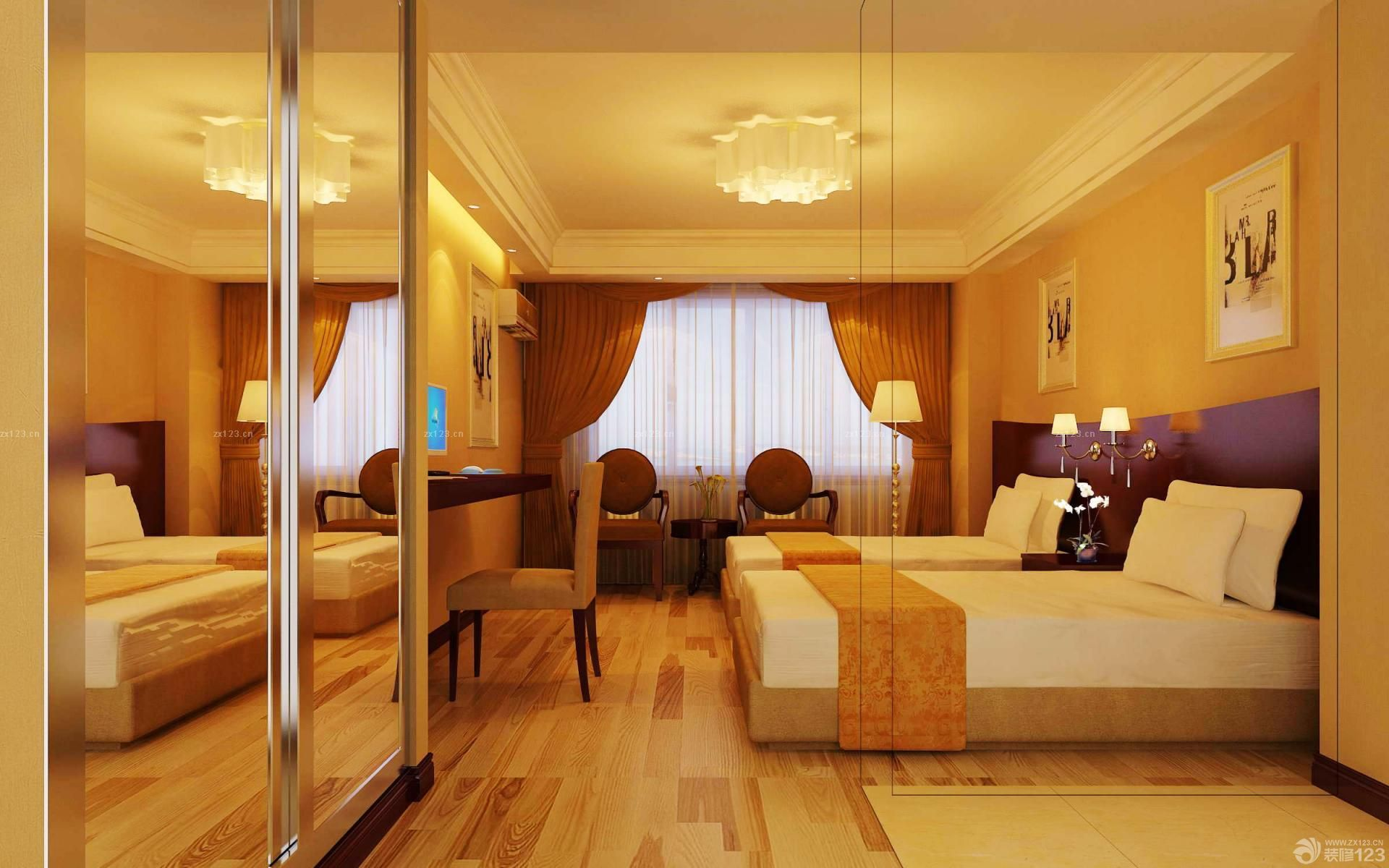 快捷酒店标准间黄色墙面设计图片_装修123效果图