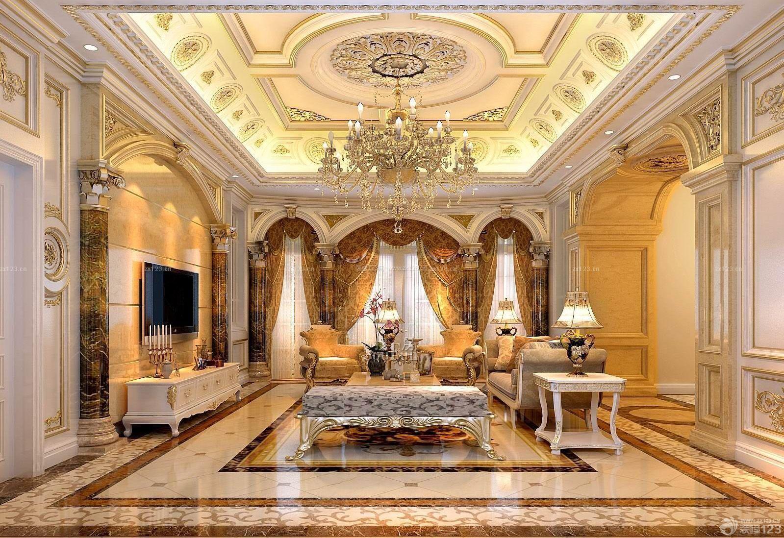 豪华别墅挑高客厅天花板贴图装修效果图