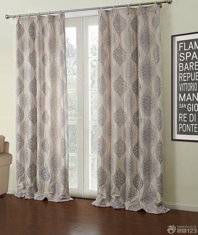现代简约风格落地玻璃窗几何图案窗帘装潢效果图大全