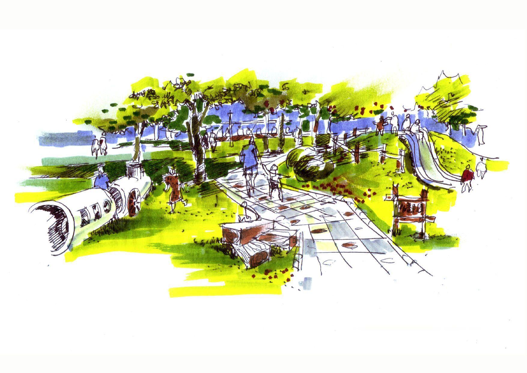 景观园林设计手绘效果图