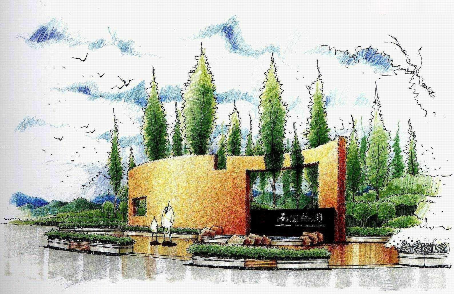 广场喷泉绿化景观手绘效果图