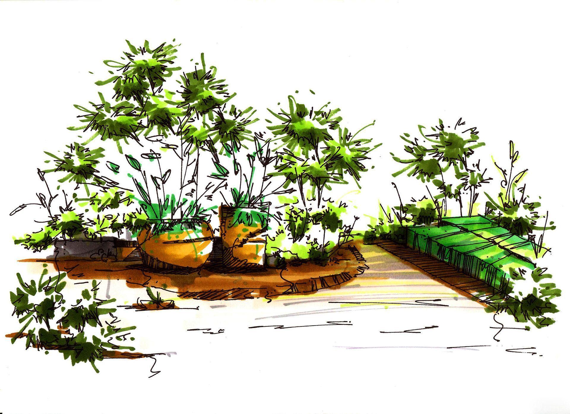 花园洋房景观手绘效果图