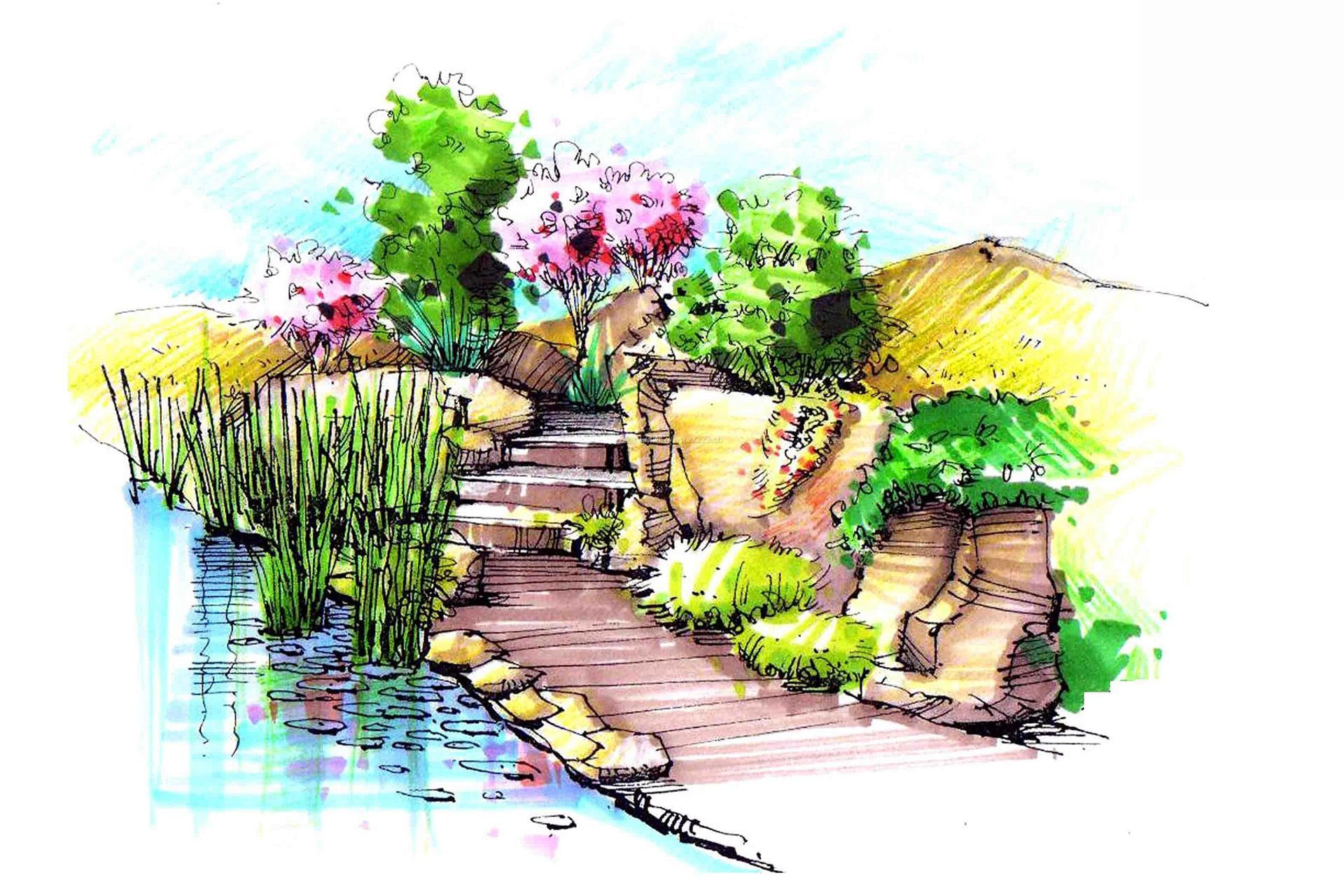 休闲区布置景观手绘效果图