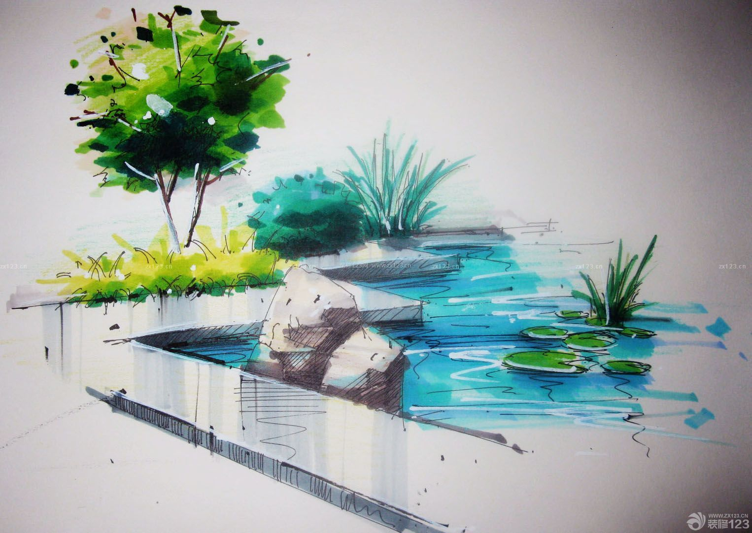 马克笔景观手绘图片
