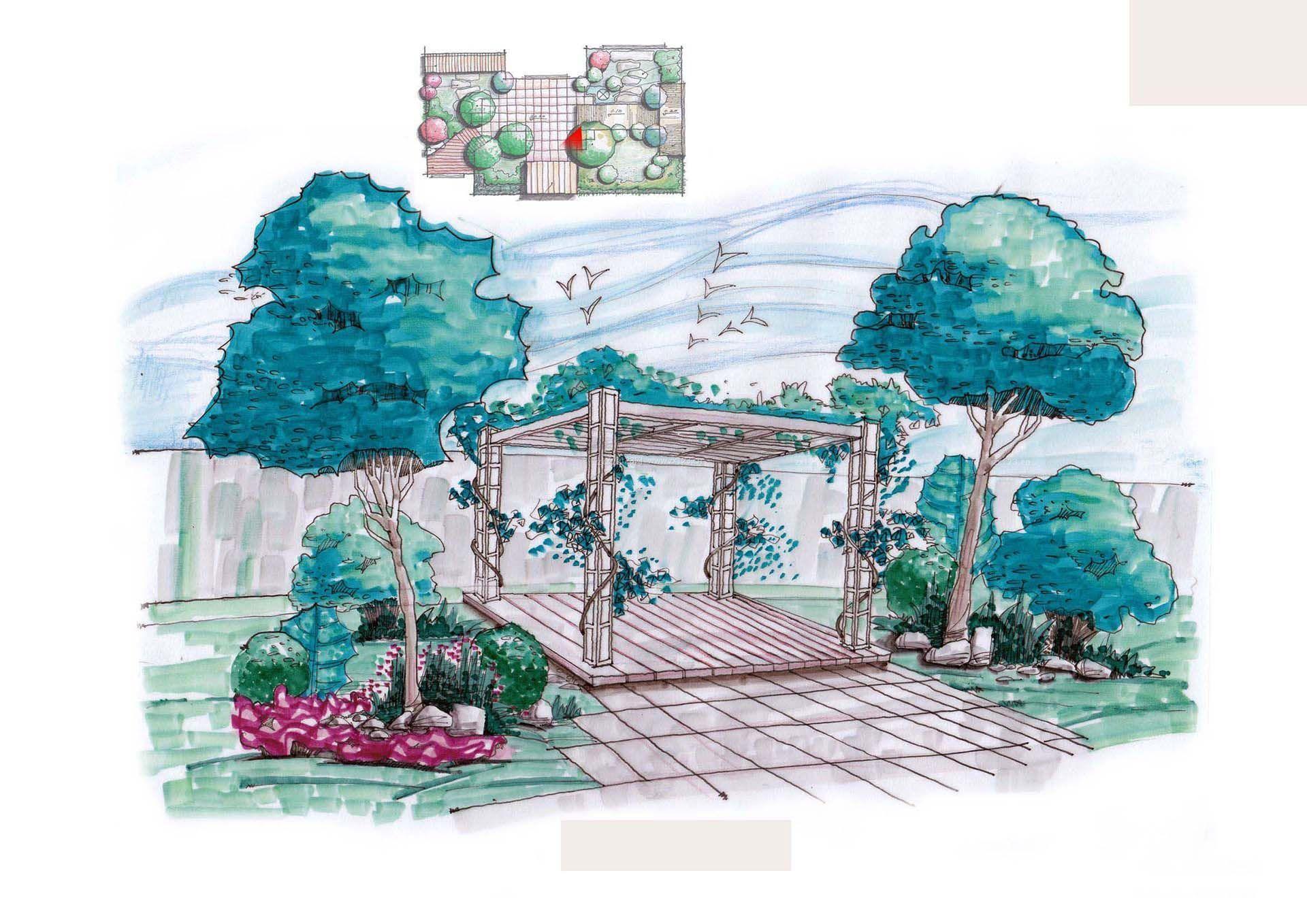 园林绿化景观手绘效果图