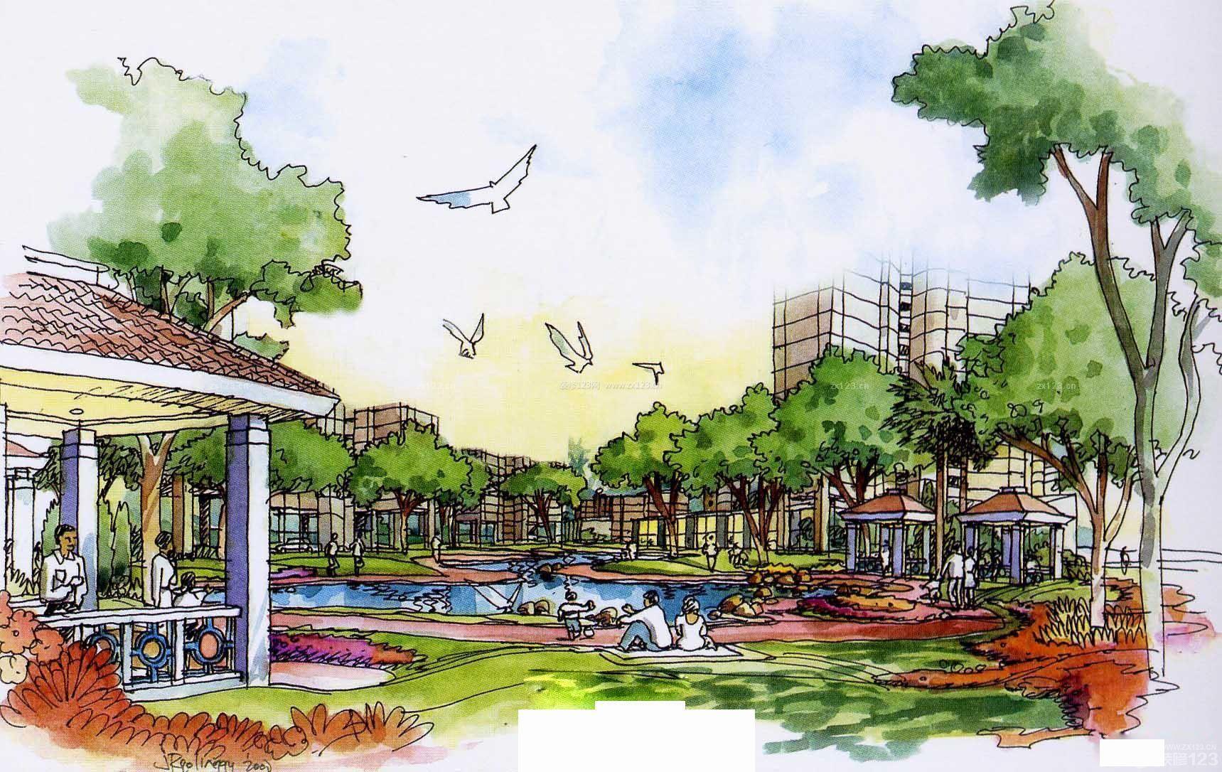 公园景观手绘线稿效果图