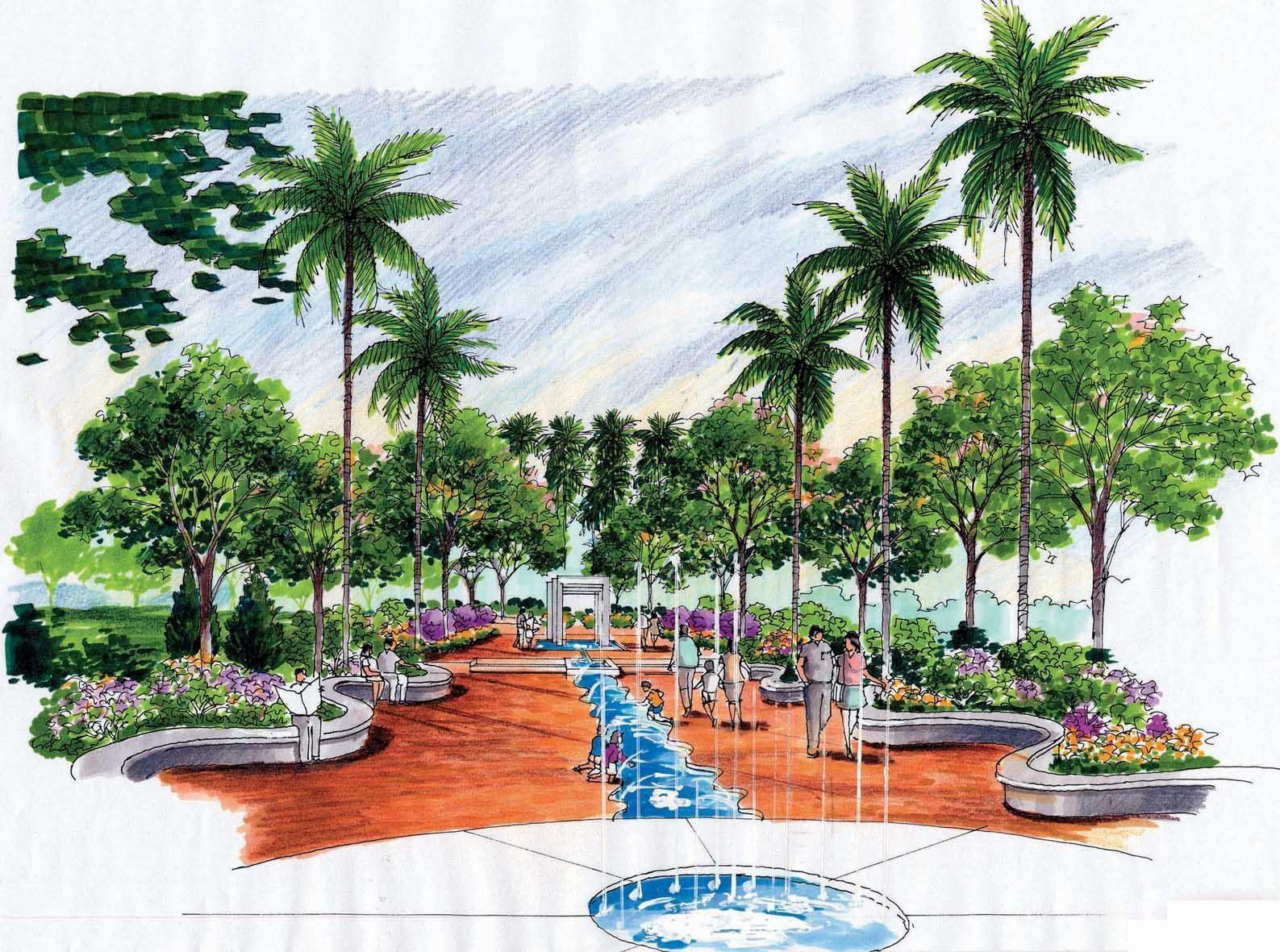 海景别墅景观手绘效果图片